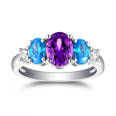Tinnivi Three Stone Oval Cut Created Amethyst And Aquamarine Sterling Silver Engagement Ring