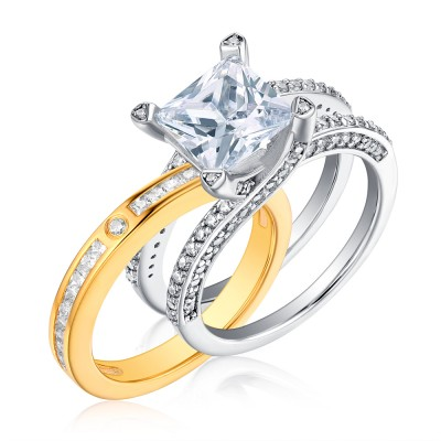 Tinnivi Elegant Two Tone Princess Cut Created White Sapphire Sterling Silver Wedding Set