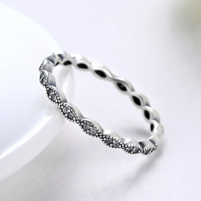 Tinnivi Simple Eyes Design Sterling Silver Created White Sapphire Wedding Band