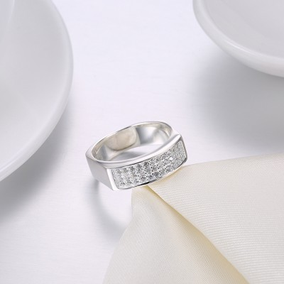 Tinnivi Fashion Pave Created White Sapphire Sterling Silver Wedding Band