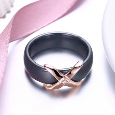 Tinnivi Black Ceramic Rose Gold Plated Sterling Silver Womens Band