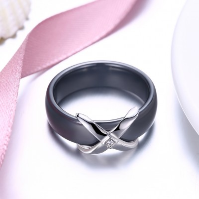 Tinnivi Black Ceramic Sterling Silver Womens Band