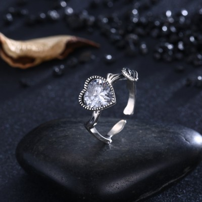 Tinnivi Stylish Heart Cut Created White Sapphire Sterling Silver Open Ring