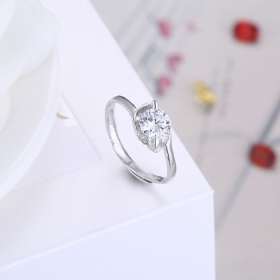 Tinnivi Simple Created White Sapphire Sterling Silver Adjustable Womens Ring