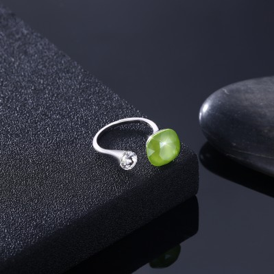 Tinnivi Sterling Silver Cushion Cut Created Peridot Open Ring