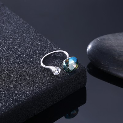 Tinnivi Sterling Silver Cushion Cut Created Blue Topaz Open Ring