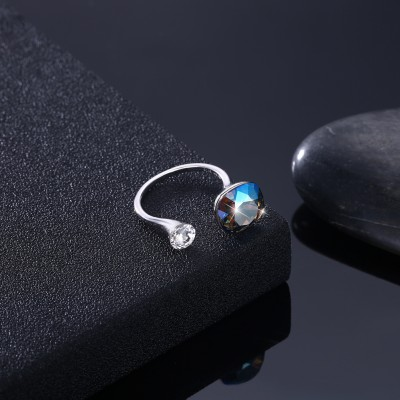 Tinnivi Sterling Silver Cushion Cut Created Aquamarine Open Ring