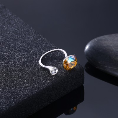 Tinnivi Sterling Silver Cushion Cut Created Orange Sapphire Open Ring