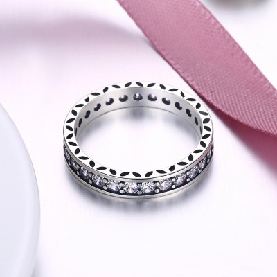 Tinnivi Pave Created White Sapphire Sterling Silver Band