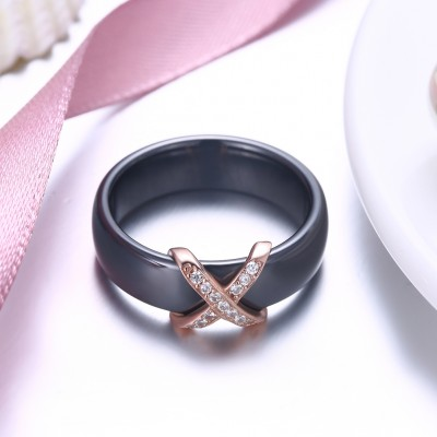 Tinnivi Fashion Rose Gold Plated Sterling Silver Black Womens Band