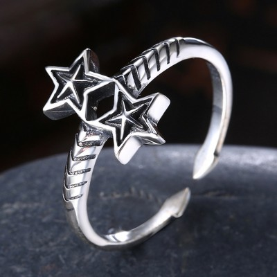 Tinnivi Vintage Sterling Silver Double Star Open Band