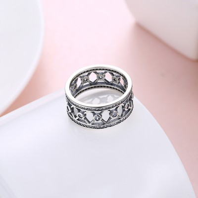 Tinnivi Vintage Wide Created White Sapphire Sterling Silver Band