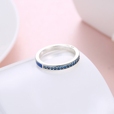 Tinnivi Sterling Silver Pave Created Aquamarine Womens Band