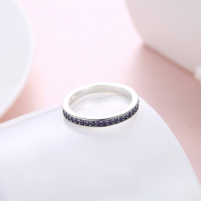 Tinnivi Sterling Silver Pave Created Amethyst Womens Band