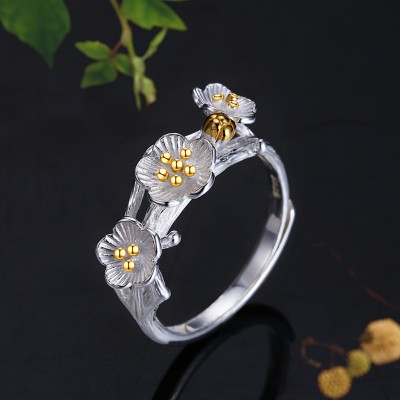 Tinnivi Fashion Flower Branch Sterling Silver Open Ring