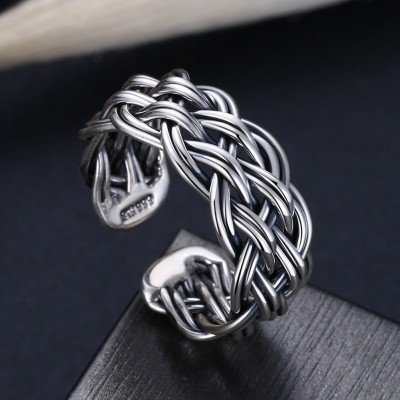 Tinnivi Vintage Weave Sterling Silver Open Ring