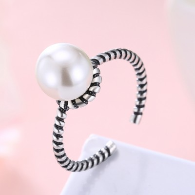 Tinnivi Vintage Pearl Sterling Silver Open Ring