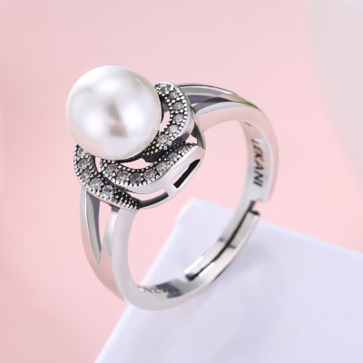 Tinnivi Stylish Design Pearl Sterling Silver Asjustable Ring