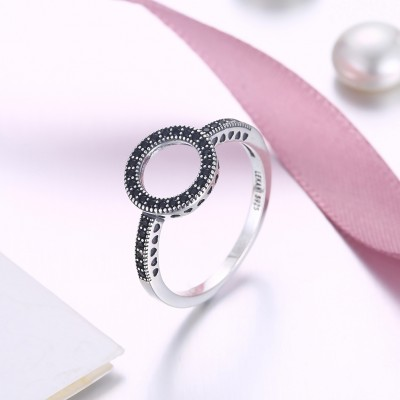 Tinnivi Hollow Out Circle Created Black Diamond Sterling Silver Ring