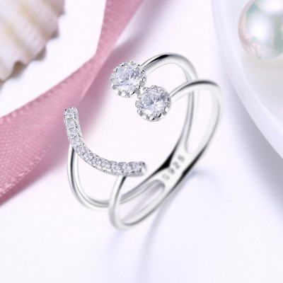 Tinnivi Smile Design Sterling Silver Created White Sapphire Womens Ring