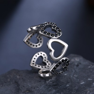 Tinnivi Hollow Out Heart Sterling Silver Open Band