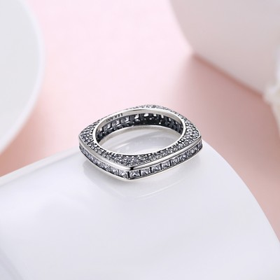 Tinnivi Vintage Created White Sapphire Sterling Silver Wedding Band