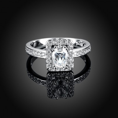 Tinnivi Halo Oval Cut Created White Sapphire Sterling Silver Engagement Ring