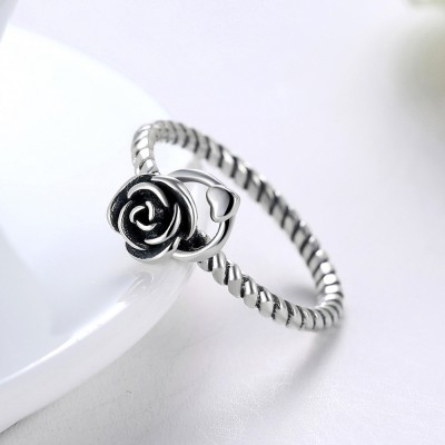 Tinnivi Heart With Rose Sterling Silver Open Ring
