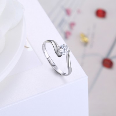 Tinnivi Adjustable Classic Round Cut Created White Sapphire Sterling Silver Engagement Ring