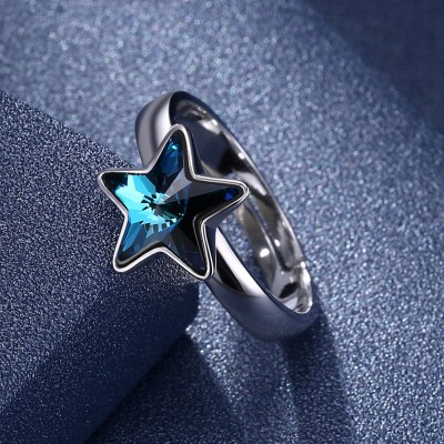 Tinnivi Star Blue Crystal Sterling Silver Ring