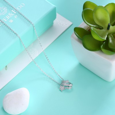 Tinnivi Stylish Star Design Created White Sapphire Sterling Silver Pendant Necklace