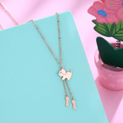 Tinnivi Rose Gold Plated Dog With Bone Sterling Silver Pendant Necklace