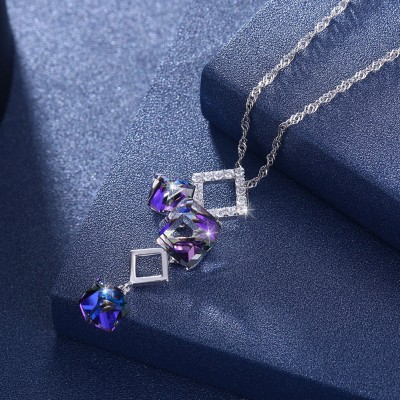 Tinnivi Gorgeous Cube Austrian Crystal Sterling Silver Pendant Necklace