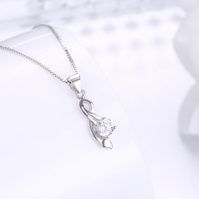 Tinnivi Classic Round Cut Created White Sapphire Sterling Silver Pendant Necklace