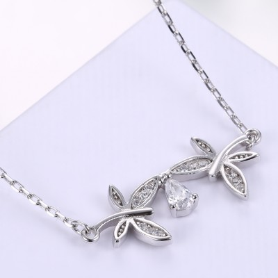 Tinnivi Dragonfly Design Created White Sapphire Sterling Silver Pendant Necklace