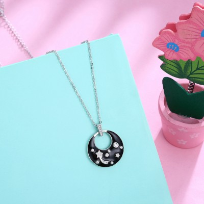Tinnivi Fashion Black Ceramic Created White Sapphire Sterling Silver Pendant Necklace