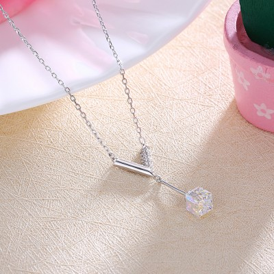 Tinnivi V Design With Austrian Crystal Sterling Silver Pendant Necklace