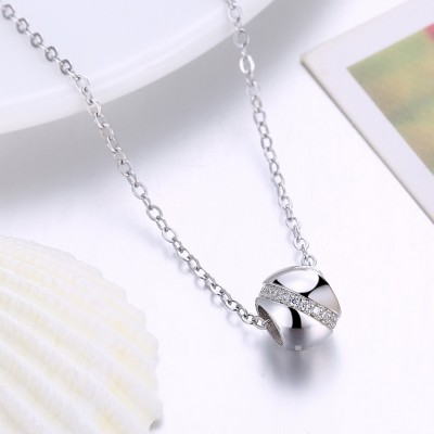 Tinnivi Bead Created White Sapphire Sterling Silver Pendant Necklace