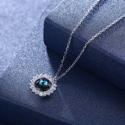 Tinnivi Halo Blue Austrian Crystal Star Design Sterling Silver Pendant Necklace