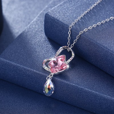 Tinnivi Pink Austrian Crystal Butterfly Sterling Silver Pendant Necklace