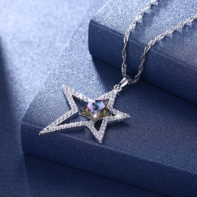 Tinnivi Double Star Purple Austrian Crystal Sterling Silver Pendant Necklace