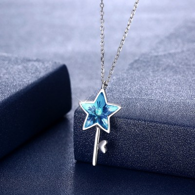 Tinnivi Star Key Design Blue Austrian Crystal Sterling Silver Pendant Necklace