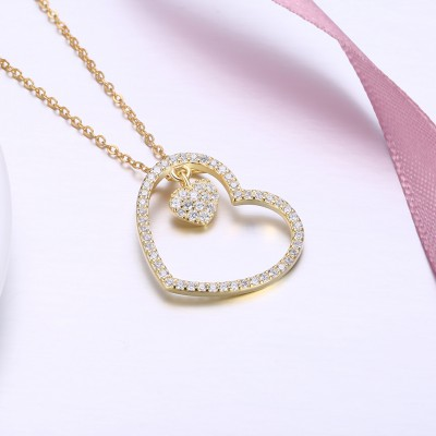 Tinnivi Gold Plated Double Heart Sterling Silver Pendant Necklace
