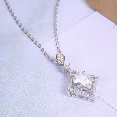 Tinnivi Gorgeous Oval Cut Created White Sapphire Sterling Silver Pendant Necklace
