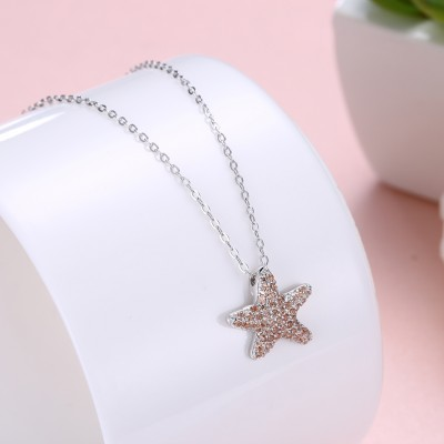 Tinnivi Starfish Design Created Orange Sapphire Sterling Silver Pendant Necklace