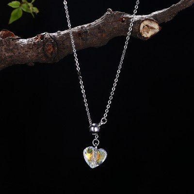 Tinnivi Heart Shape Austrian Crystal Sterling Silver Pendant Necklace