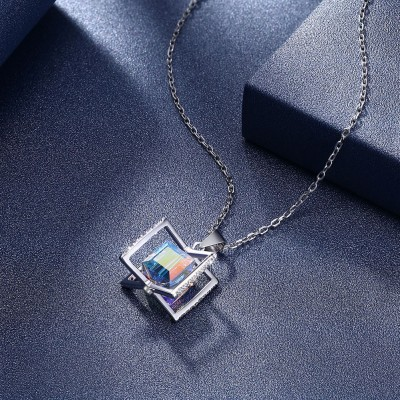 Tinnivi Stylish Cube Austrian Crystal Sterling Silver Pendant Necklace