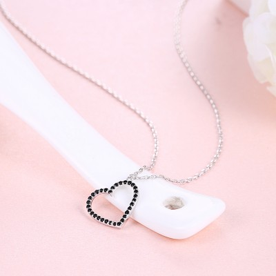 Tinnivi Simple Hollow Out Heart Created Black Diamond Sterling Silver Pendant Necklace
