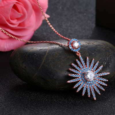 Tinnivi Rose Gold Plated Sun Flower Sterling Silver Pendant Necklace