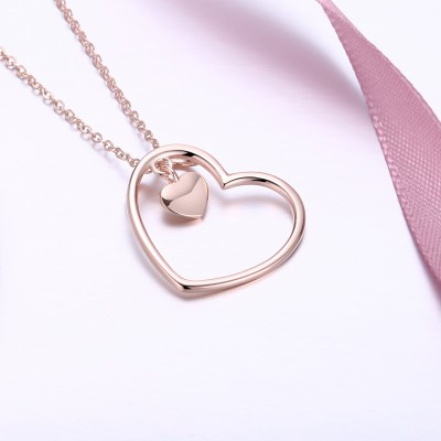 Tinnivi Rose Gold Plated Sterling Silver Double Heart Pendant Necklace